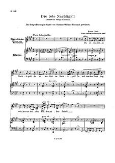 Die tote Nachtigall, S.291: Erste Fassung by Franz Liszt