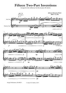 Complete set, BWV 772-786: For Alto Sax and Baritone Sax by Johann Sebastian Bach