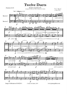 Twelve Duets for Two Hors, K.487: Version for Bassoon Duo by Wolfgang Amadeus Mozart