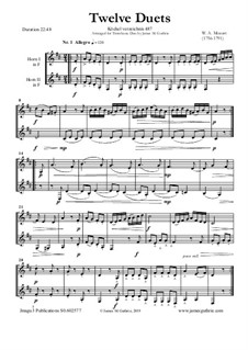 Twelve Duets for Two Hors, K.487: Score by Wolfgang Amadeus Mozart