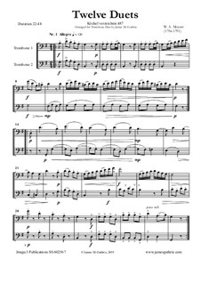 Twelve Duets for Two Hors, K.487: Version for Trombone Duo by Wolfgang Amadeus Mozart
