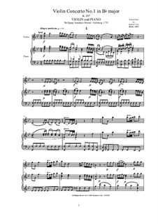 Concerto for Violin and Orchestra No.1 in B Flat Major, K.207: Score and part by Wolfgang Amadeus Mozart