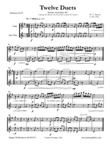 Twelve Duets for Two Hors, K.487: Version for Flute and Alto Flute by Wolfgang Amadeus Mozart