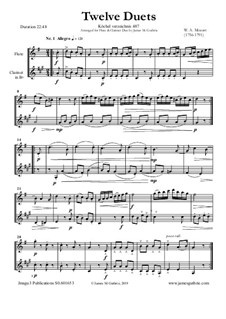 Twelve Duets for Two Hors, K.487: Version for Flute and Clarinet by Wolfgang Amadeus Mozart