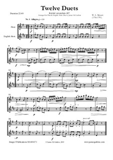 Twelve Duets for Two Hors, K.487: Version for Flute and English Horn by Wolfgang Amadeus Mozart