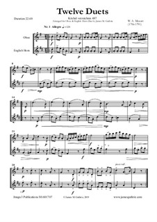 Twelve Duets for Two Hors, K.487: Version for Oboe and English Horn by Wolfgang Amadeus Mozart