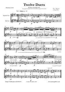 Twelve Duets for Two Hors, K.487: Version for Soprano and Alto Sax Duo by Wolfgang Amadeus Mozart