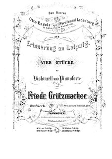 Memory of Leipzig. March for Cello and Piano, Op.13 No.4: Score by Friedrich Grützmacher