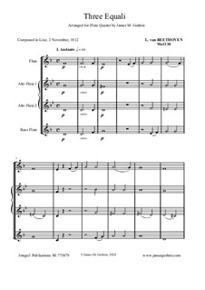 Three Equale, WoO 30: For Flute Quartet by Ludwig van Beethoven