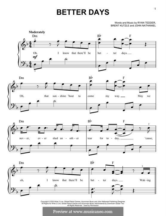 Better Days (OneRepublic): For piano by Brent Kutzle, Ryan B Tedder