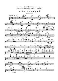 Lašské tance (Lachian Dances), JW 6/17: Dances No.5-6 – violins I part by Leoš Janáček