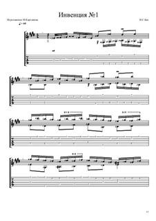 No.1 in C Major, BWV 772: For guitar by Johann Sebastian Bach