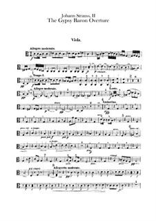 The Gypsy Baron: Overture – violas part by Johann Strauss (Sohn)