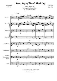 Jesu, Joy of Man's Desiring: For Flute Choir by Johann Sebastian Bach