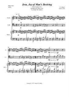 Jesu, Joy of Man's Desiring: For Piano Trio by Johann Sebastian Bach