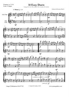 14 Easy Duets: For Alto & Bass Flute by Johann Sebastian Bach
