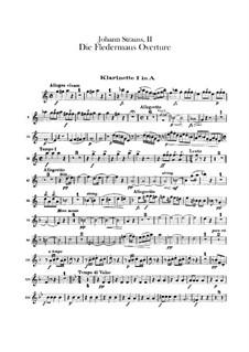 Die Fledermaus (The Bat): Overture – clarinets parts by Johann Strauss (Sohn)