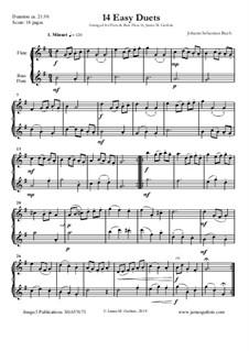 14 Easy Duets: For Flute & Bass Flute by Johann Sebastian Bach