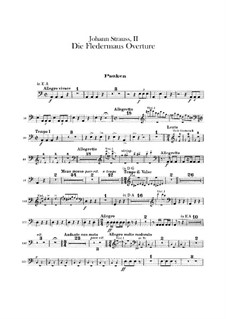 Die Fledermaus (The Bat): Overture – percussions parts by Johann Strauss (Sohn)