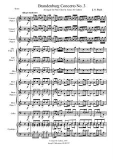 Full score: For Flute Choir by Johann Sebastian Bach