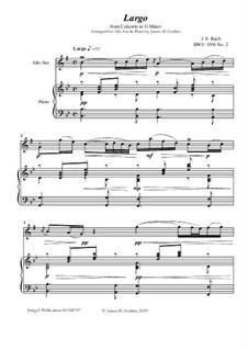 Movement II (Two Instruments Version): For Alto Sax & Piano by Johann Sebastian Bach