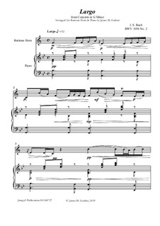 Movement II (Two Instruments Version): For Baritone Horn & Piano by Johann Sebastian Bach