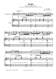 Movement II (Two Instruments Version): For Contrabassoon & Piano by Johann Sebastian Bach