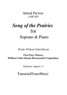 Song of the Prairies for Soprano & Piano: Song of the Prairies for Soprano & Piano by Akmal Parwez