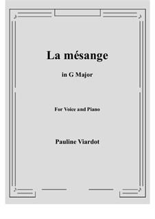 La mésange: G Major by Pauline Viardot