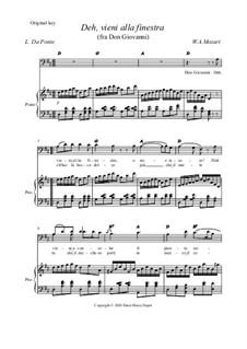 Deh vieni alla finestra: Original key by Wolfgang Amadeus Mozart