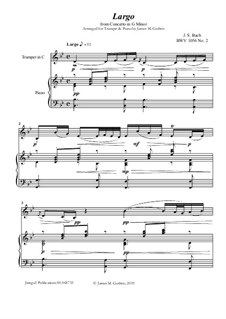 Movement II (Two Instruments Version): For Trumpet & Piano by Johann Sebastian Bach