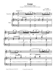 Movement II (Two Instruments Version): For Tenor Sax & Piano by Johann Sebastian Bach