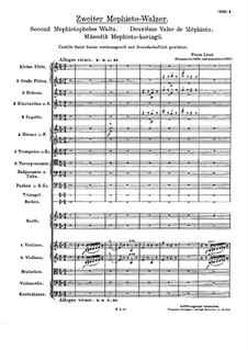 Waltz No.2 in E Flat Major for Orchestra, S.111: Full score by Franz Liszt