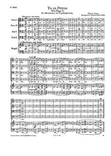 Pro Papa, S.39: No.1 Tu es Petrus by Franz Liszt
