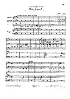 Mariengarten. Quasi cedrus, S.62: Full score by Franz Liszt
