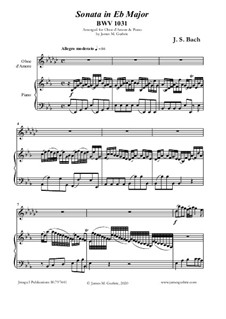Sonata for Flute and Harpsichord No.2 in E Flat Major, BWV 1031: For Oboe d'Amore and Piano by Johann Sebastian Bach