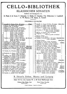 Sonata for Cello and Basso Continuo in D Major: Arrangement for cello and piano by Pietro Locatelli