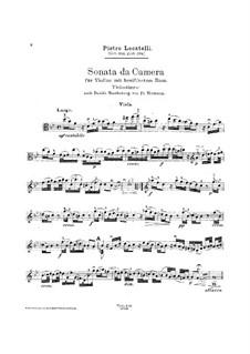 Sonata da camera for Violin and Basso Continuo: Arrangement for viola and piano by Pietro Locatelli