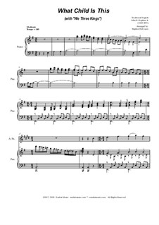 What Child Is This (with 'We Three Kings'): For Alto Saxophone and Piano by folklore, John H. Hopkins Jr.