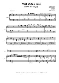 What Child Is This (with 'We Three Kings'): For Cello solo and Piano by folklore, John H. Hopkins Jr.