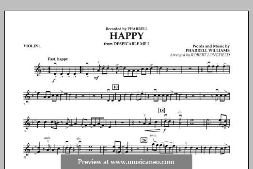 Happy (from Despicable Me 2) arr. Robert Longfield: Violin 1 part by Pharrell Williams