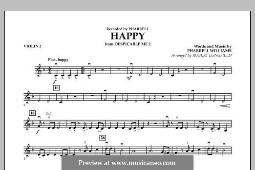 Happy (from Despicable Me 2) arr. Robert Longfield: Violin 2 part by Pharrell Williams