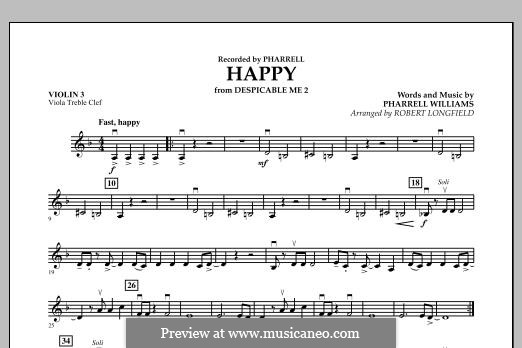 Happy (from Despicable Me 2) arr. Robert Longfield: Violin 3 (Viola Treble Clef) part by Pharrell Williams