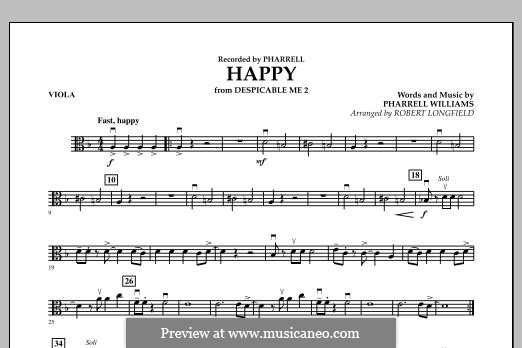 Happy (from Despicable Me 2) arr. Robert Longfield: Viola part by Pharrell Williams