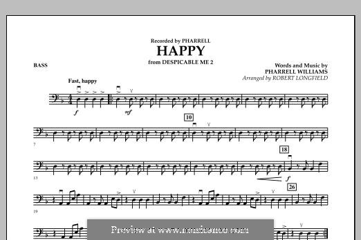 Happy (from Despicable Me 2) arr. Robert Longfield: Bass part by Pharrell Williams
