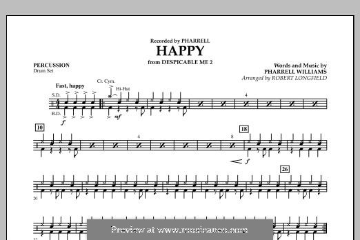 Happy (from Despicable Me 2) arr. Robert Longfield: Percussion part by Pharrell Williams