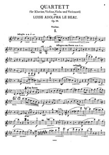 Piano Quartet in F Minor, Op.28: Violin part by Luise Adolpha Le Beau