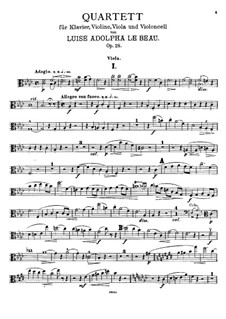 Piano Quartet in F Minor, Op.28: Viola part by Luise Adolpha Le Beau