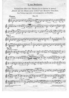 Variations on 'Là ci darem la mano' from 'Don Giovanni' by Mozart, WoO 28: Oboe II part by Ludwig van Beethoven
