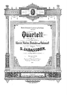 Piano Quartet No.3 in A Minor, Op.109: Full Score and Parts by Salomon Jadassohn
